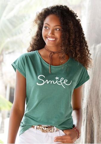 """Beachtime T-Shirt, mit modischem Sprüche Frontdruck """"Smile"""" kaufen"""