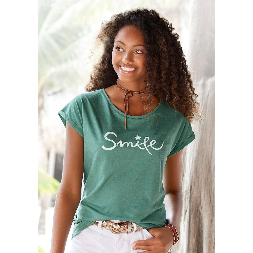 """Beachtime T-Shirt, mit modischem Sprüche Frontdruck """"Smile"""""""