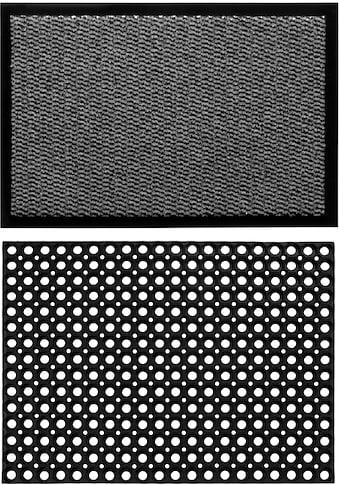 Andiamo Fußmatte »Easy + Gummi Ringmatte, 2er Set«, rechteckig, 5 mm Höhe, Fussabstreifer, Fussabtreter, Schmutzfangläufer, Schmutzfangmatte, Schmutzfangteppich, Schmutzmatte, Türmatte, Türvorleger, In- und Outdoor geeignet kaufen