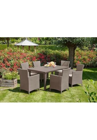 13 - tlg. Gartenmöbelset »Napoli«, 6 Sessel, Tisch 165x94 cm, Kunststoff kaufen