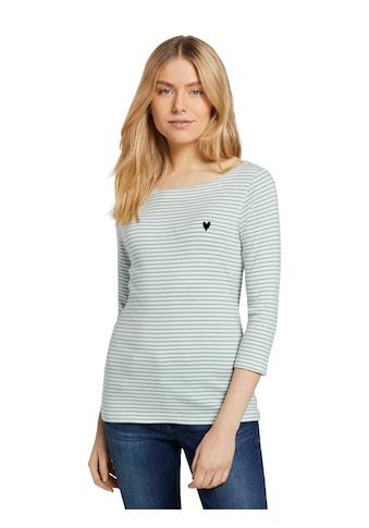 TOM TAILOR 3/4-Arm-Shirt, mit Ringel und kleiner Brust-Stickerei kaufen