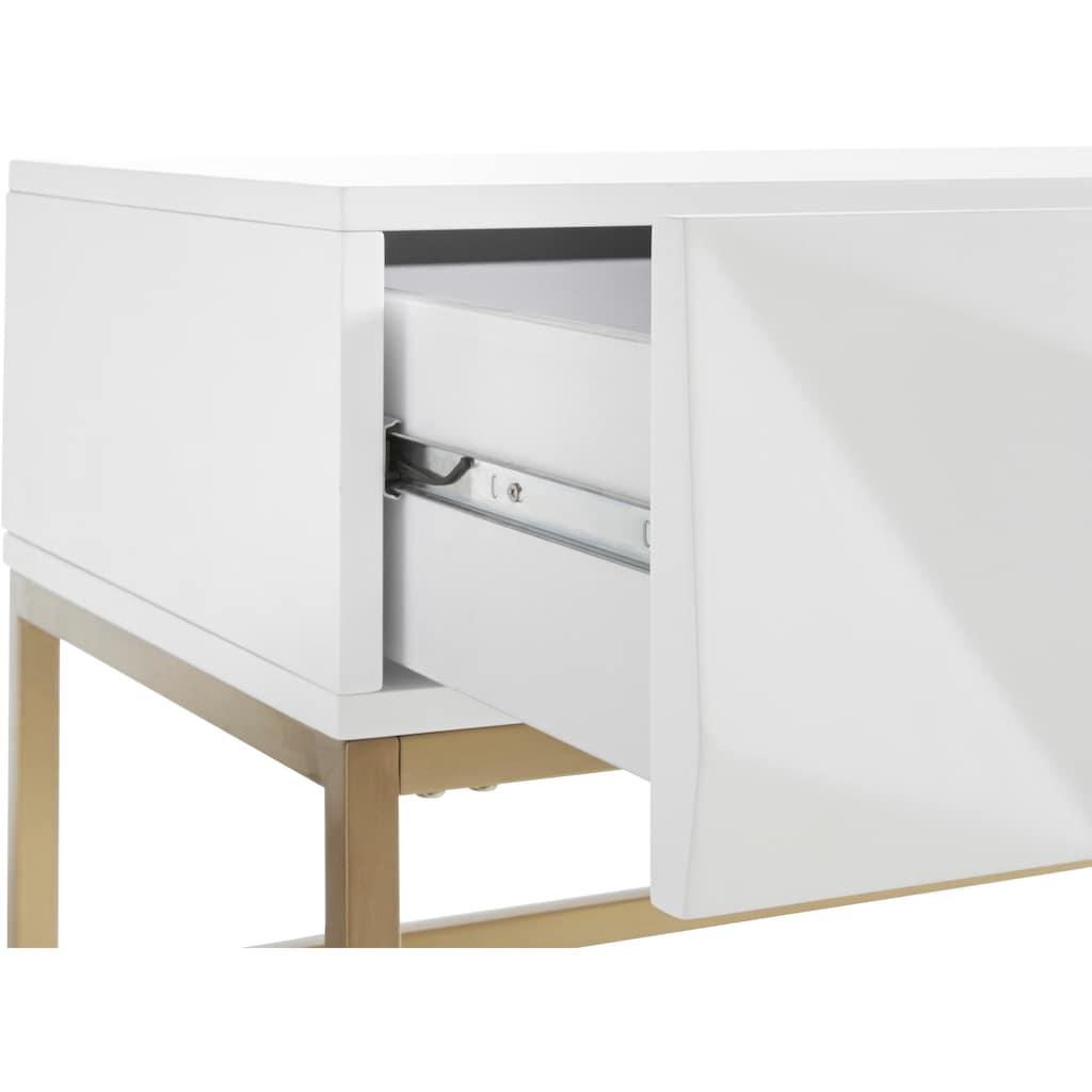 Leonique Sideboard »Minfi«, in 3D-Optik, Konsolentisch mit goldfarbenem Metallgestell, Schminktisch