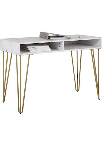 Leonique Schreibtisch »Rivau«, mit einer Marmoroptik Tischplatte, Gestell aus goldfarbenem Metall, auch als Schminktisch geeignet, Konsolentisch kaufen
