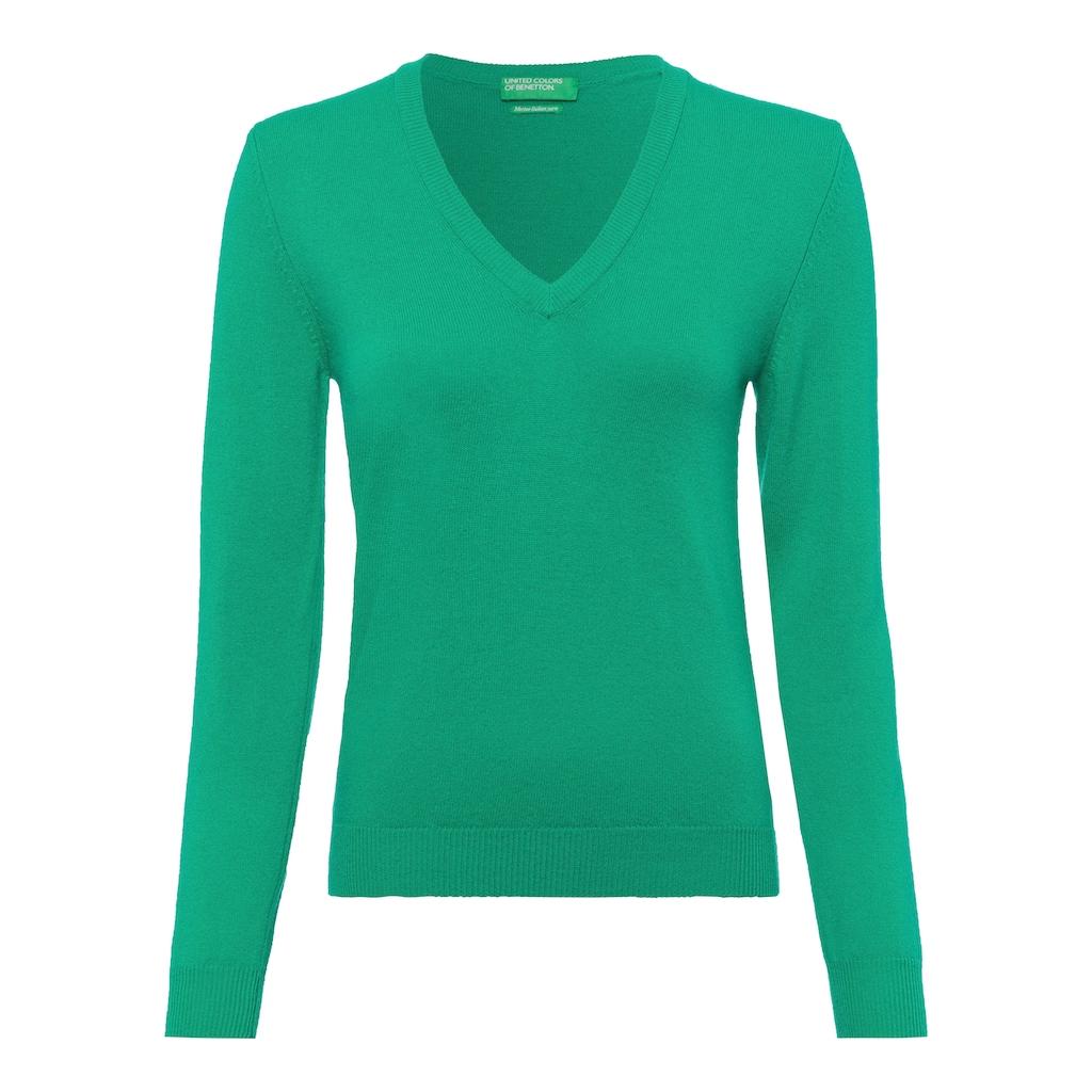United Colors of Benetton V-Ausschnitt-Pullover, in kombistarker Basic-Form
