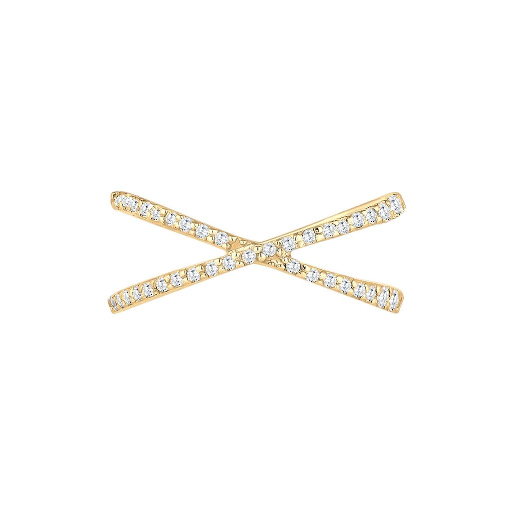 Elli Fingerring »Silberring Kreuz mit Zirkonia 925 Silber«