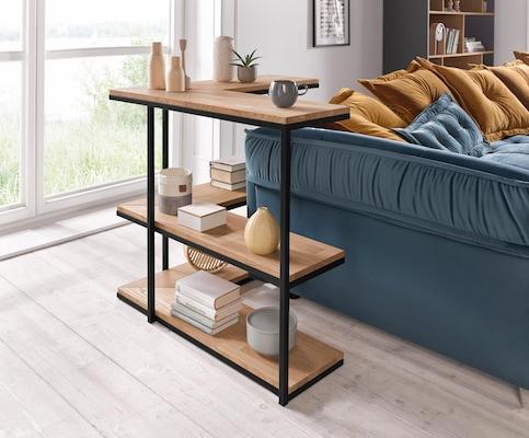 Holz-Metall Eckregal rund um die Couch