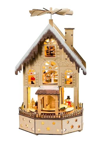 HGD Holz-Glas-Design Pyramide Weihnachtshaus für Batterie- und Netzbetrieb kaufen