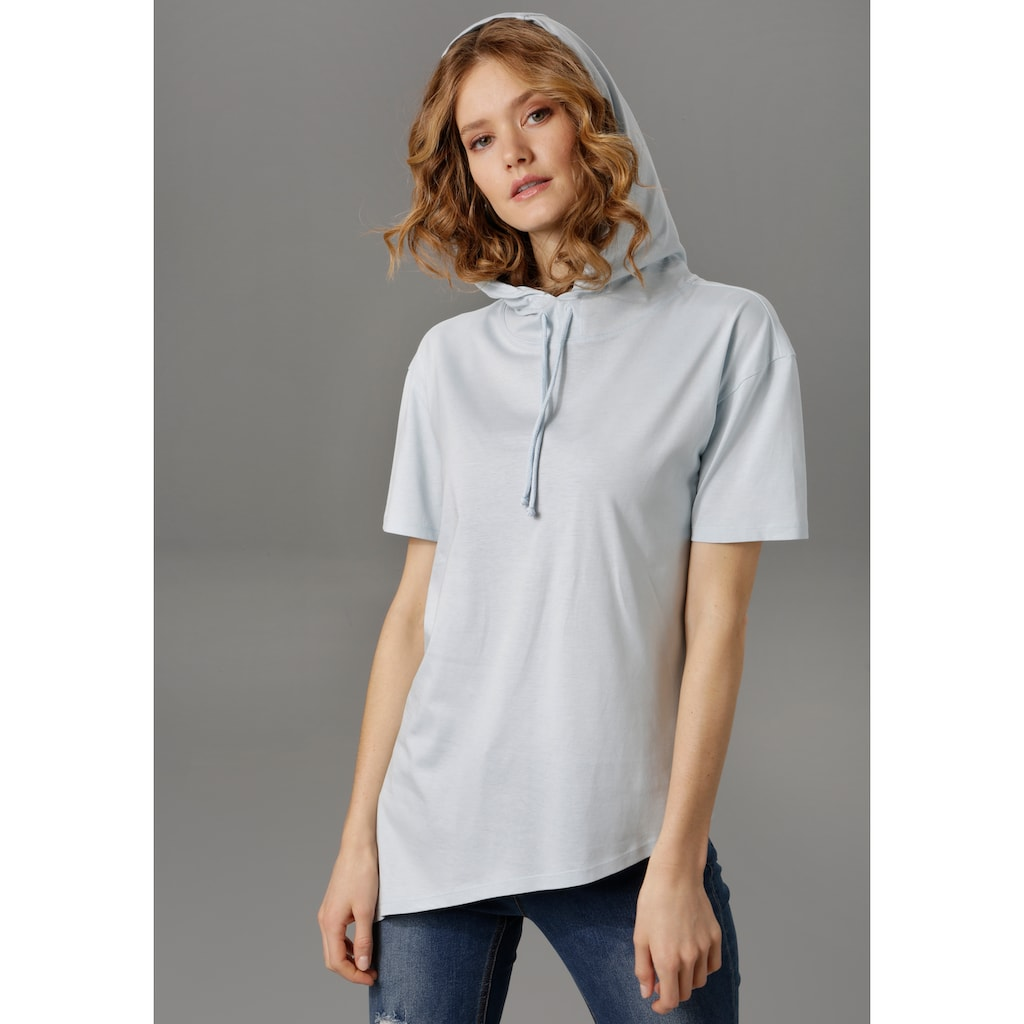 Aniston CASUAL T-Shirt, mit Kapuze und Bindeband