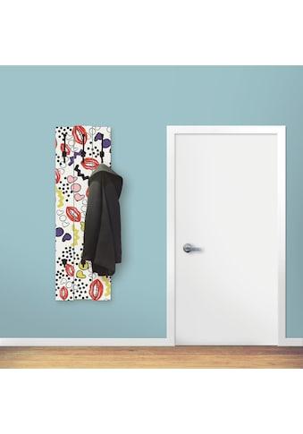 Artland Garderobenpaneel »Mund mit Pop-Art«, Garderobe mit 3 großen und 2 kleinen Haken kaufen