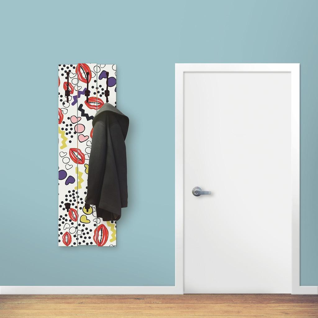 Artland Garderobenpaneel »Mund mit Pop-Art«, Garderobe mit 3 großen und 2 kleinen Haken