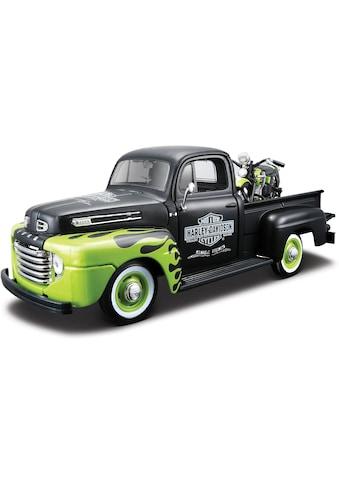 Maisto® Sammlerauto »Ford F1 '48 + FL Panhead '48, 1:24, schwarz/grün«, (Set, 2 tlg.),... kaufen