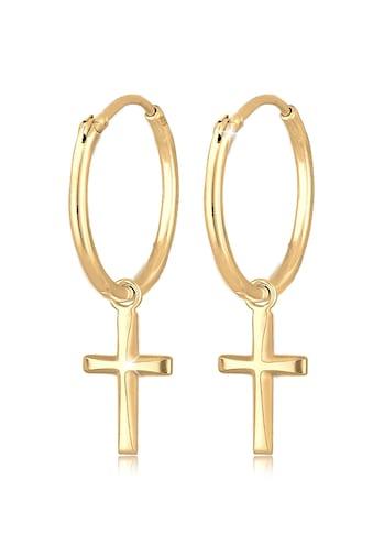 Elli Paar Creolen »Creolen Hänger Kreuz Religion 925 Silber« kaufen