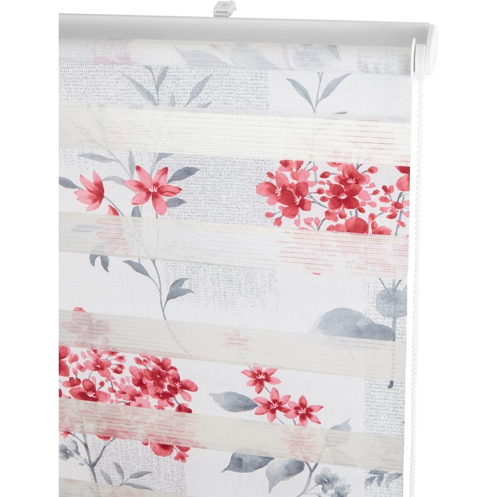 my home Doppelrollo »Fleur«, Lichtschutz, ohne Bohren, freihängend, im Fixmaß