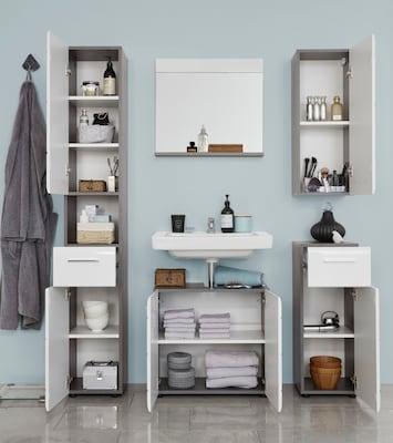 Badmöbel-Set in Weiß-Grau