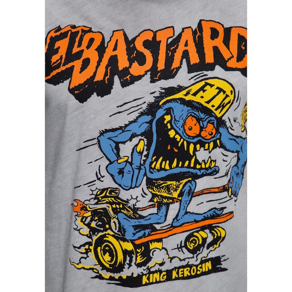 KingKerosin Longsleeve »El Bastardo«, mit Frontprint und Oilwash-Effekt