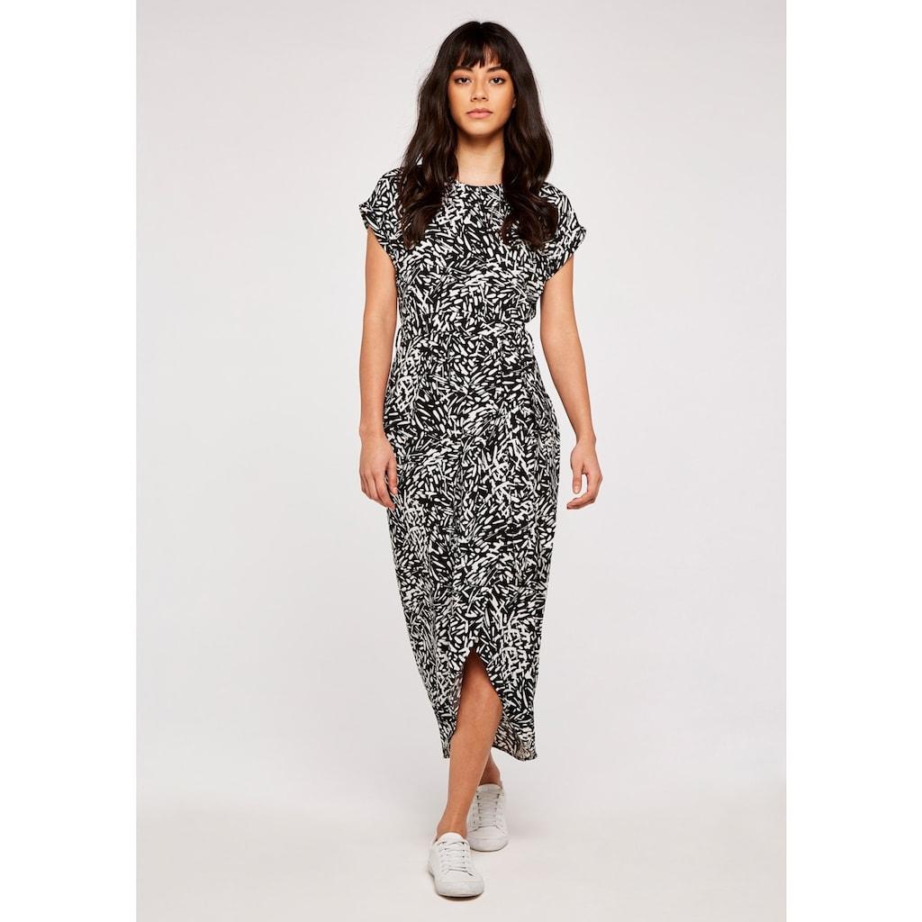 Apricot Druckkleid »Abstract Print Crepe Wrap Dress«, (mit Bindeband), mit Taillen-Bindegürtel