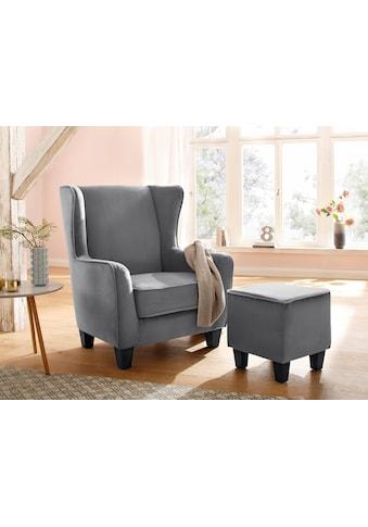 Home affaire Sessel »Ginger«, mit Hocker im Set, Keder, Federkern kaufen