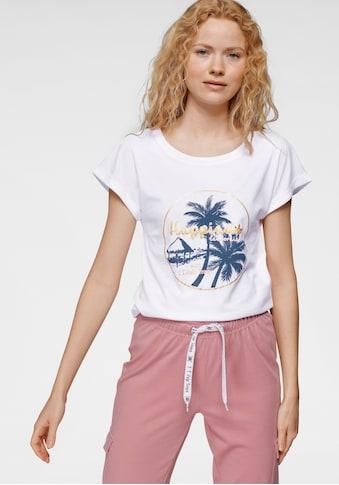 TOM TAILOR Polo Team T-Shirt, mit trendigem Palmen-Beach-Logodruck - NEUE KOLLEKTION kaufen