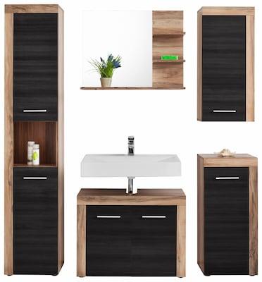 badmöbel-Set in Schwarz und Holzdekor