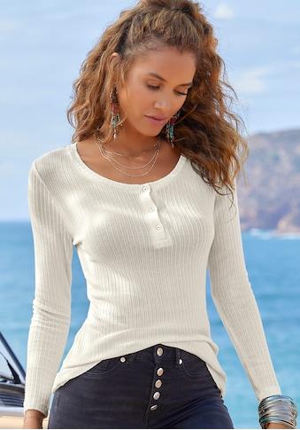 LASCANA Langarmshirt, aus modischer Ripp-Qualität kaufen