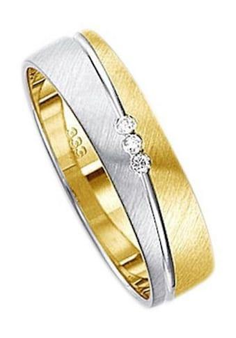 Firetti Trauring mit Gravur »quer gebürstet, Diamantschnitt, bicolor, 5,0 mm breit«, Made in Germany, wahlweise mit oder ohne Brillanten kaufen