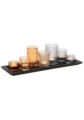 my home Teelichthalter »Tablett mit 7 Gläsern«, in verschiedenen Farben kaufen