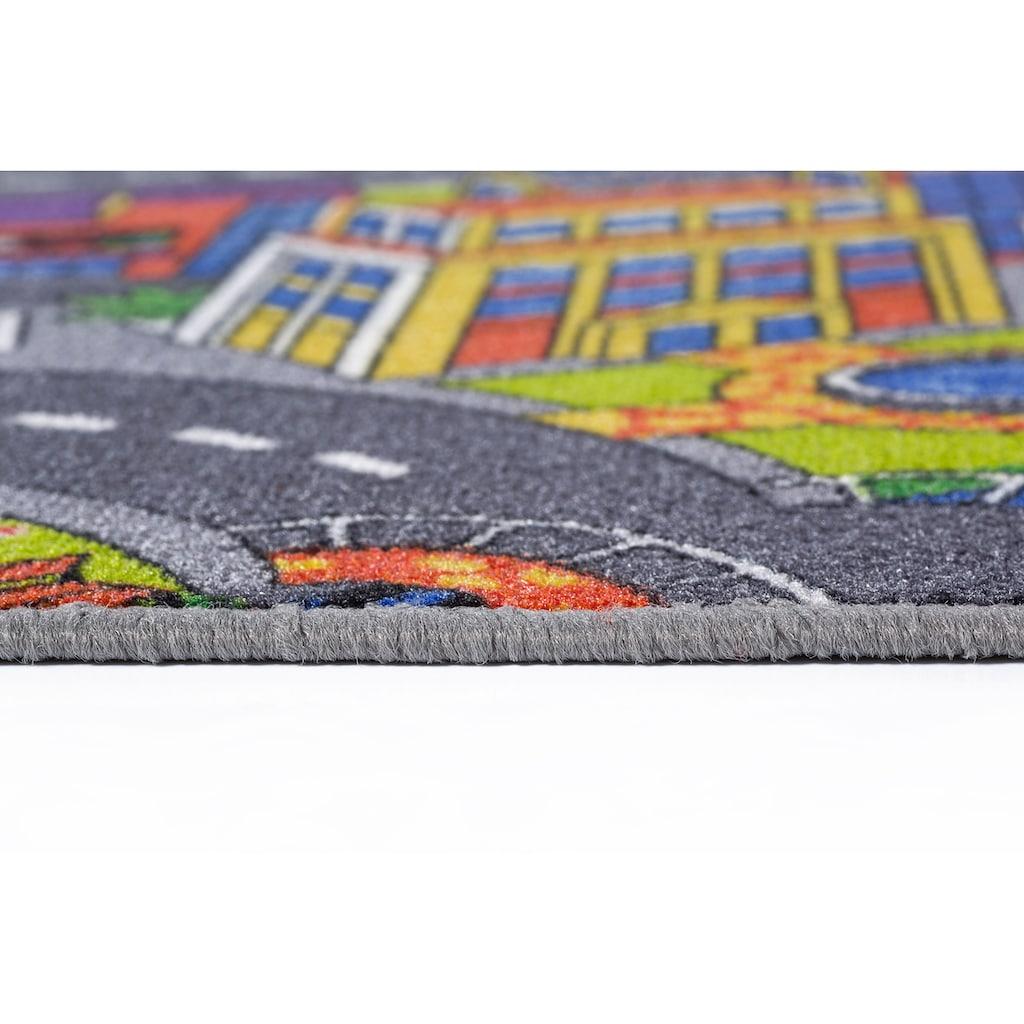 Andiamo Kinderteppich »Straße«, rechteckig, 5 mm Höhe, Straßen-Spielteppich, Straßenbreite: 8,5 cm, Kinderzimmer