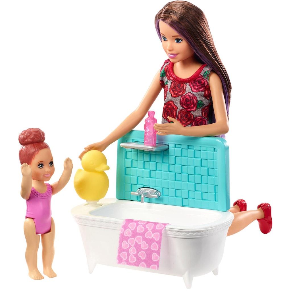 Mattel® Anziehpuppe »Barbie Skipper Babysitters Spielset mit Badewanne«