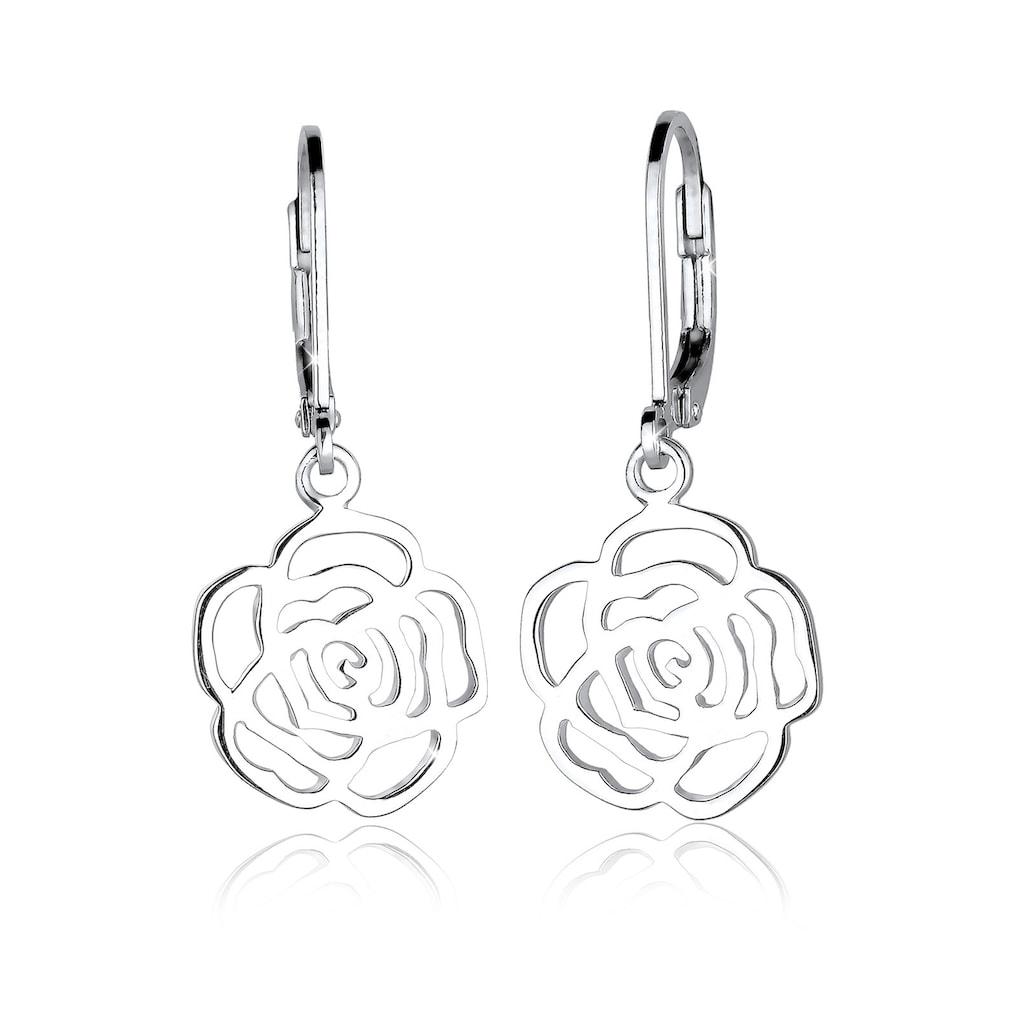 Elli Paar Ohrhänger »Rose Blume Blütenform Romantisch Filigran Silber«