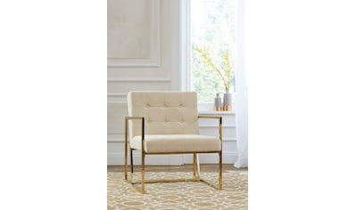 Guido Maria Kretschmer Home&Living Sessel »Silwai«, mit schönem vergoldetem Metallgestell und Samtpolsterung, Sitzhöhe 44 cm kaufen