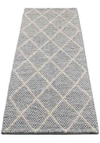 My HOME Läufer »Lior«, rechteckig, 10 mm Höhe, Nutzschicht aus Wolle, Rauten Design kaufen