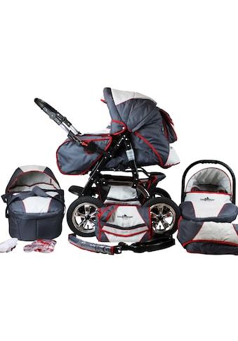 bergsteiger Kombi-Kinderwagen »Milano, grey & red stripes, 3in1«, 15 kg, Made in... kaufen