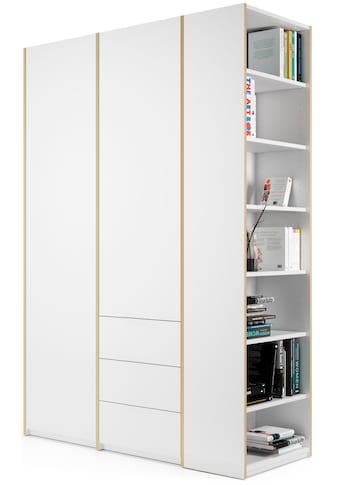Müller SMALL LIVING Kleiderschrank »Modular Plus Variante 2«, inklusive 3 kleinen Schubladen im rechten Schrankteil, Anbauregal wahlweise links oder rechts montierbar kaufen