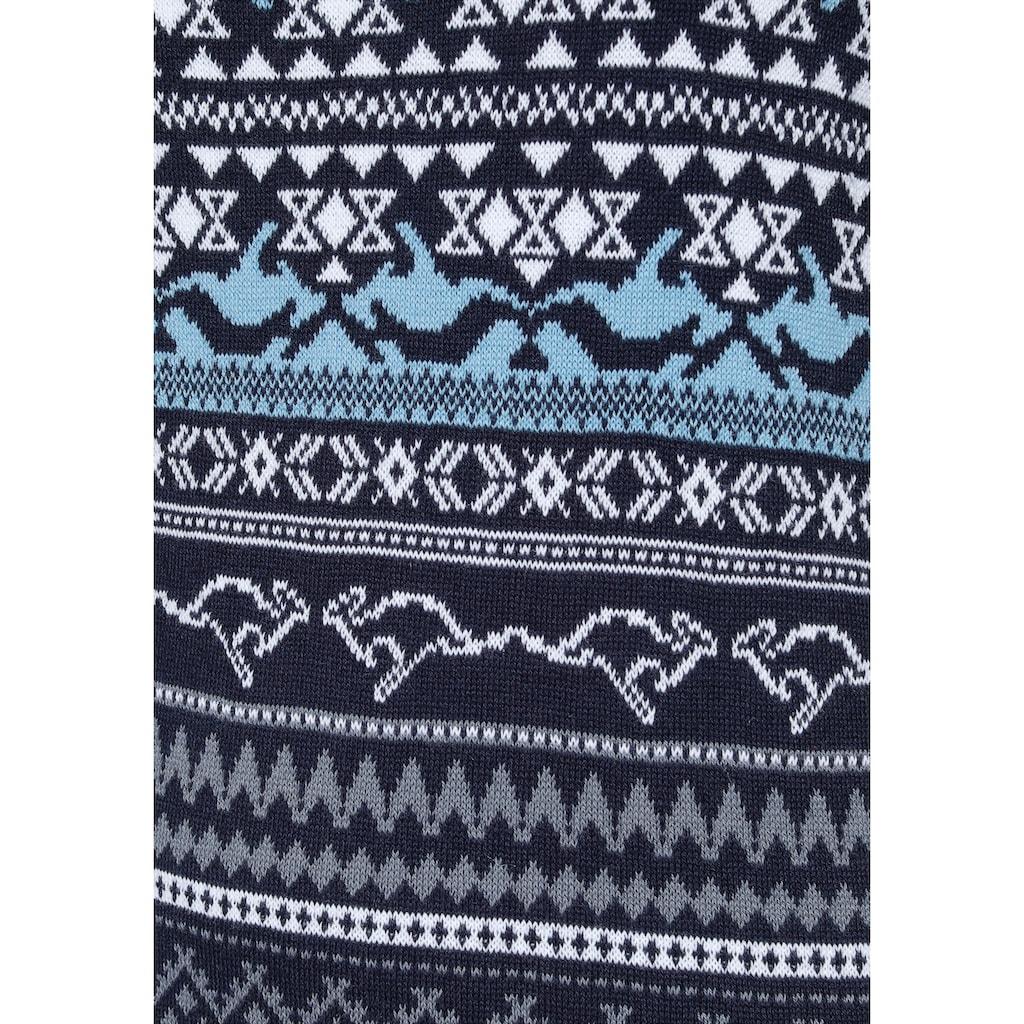 KangaROOS Strickkleid, im kontrastreichen Norweger-Design