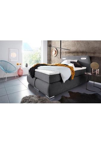 INOSIGN Boxspringbett »Black & White«, incl. LED Beleuchtung, bis zu 3 Härtegrade, Obermatratze bei 140 cm einteilig kaufen