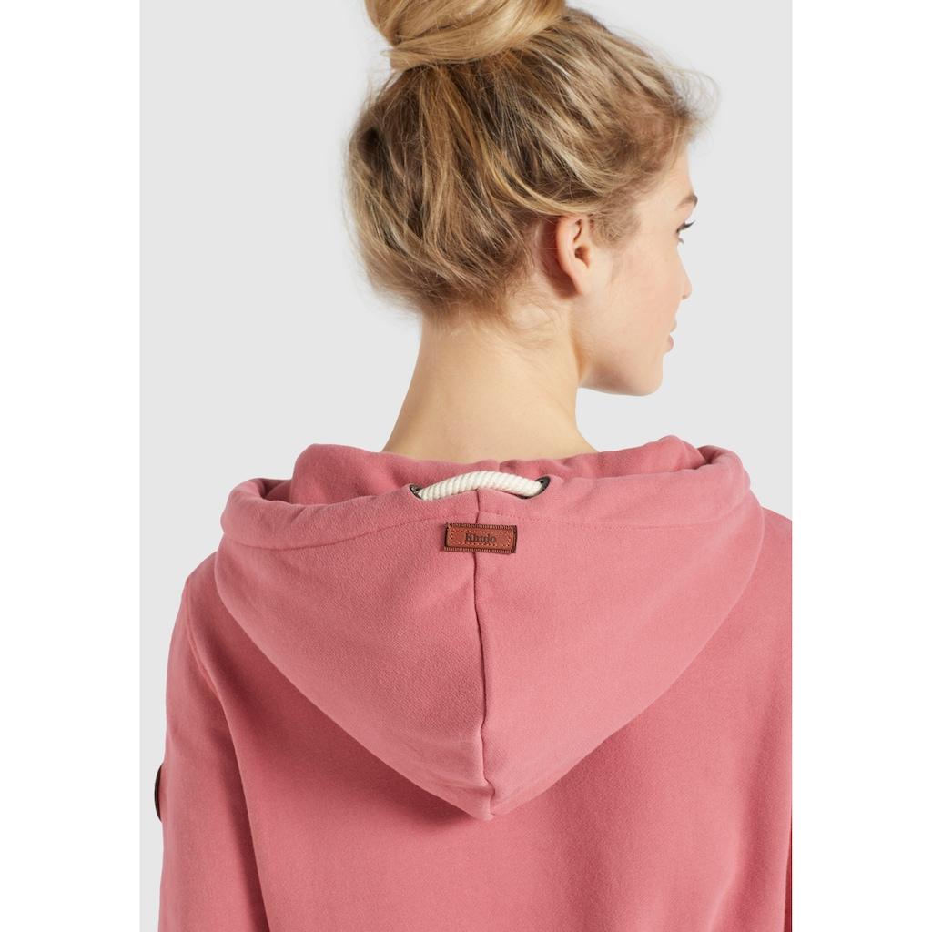 khujo Sweatshirt »FANCI«, sportives Sweatshirt mit Cross Over Kragen und Kapuze