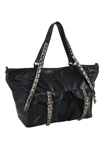 Tasche in Lackoptik mit Nieten kaufen