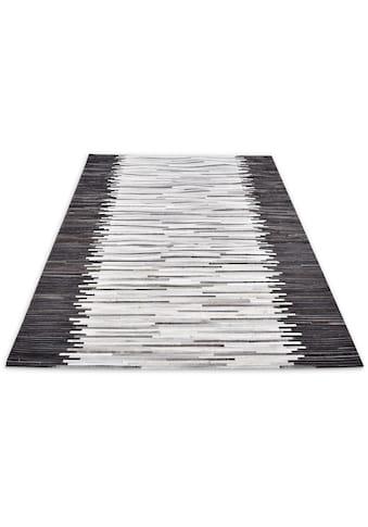 THEKO Fellteppich »Kobe-Streifen«, rechteckig, 3 mm Höhe, Patchwork, handgenäht, echtes Rinderfell in Naturtönen, Wohnzimmer kaufen