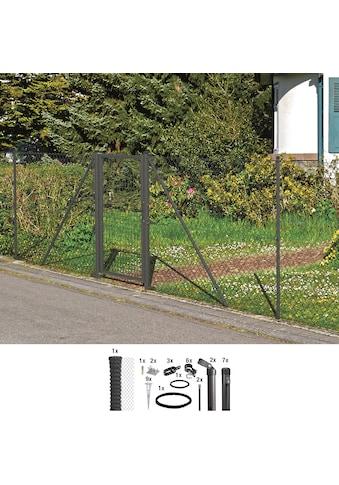 GAH Alberts Maschendrahtzaun, 125 cm hoch, 15 m, anthrazit beschichtet, mit Bodenhülsen kaufen
