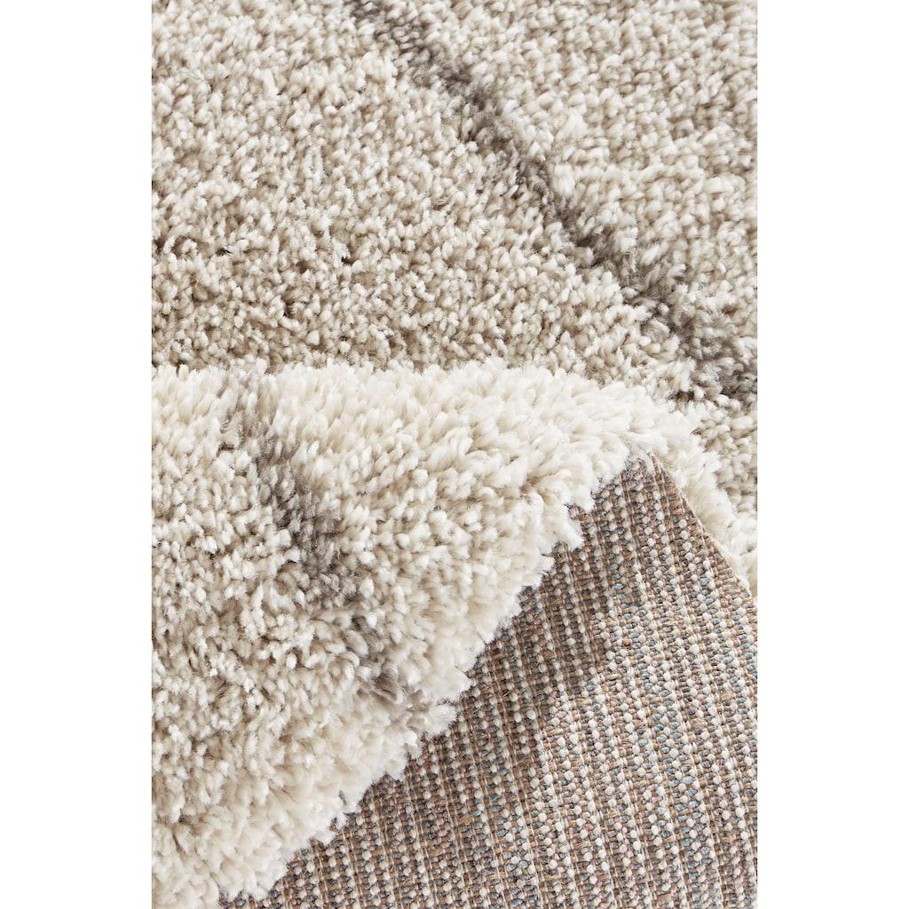 Leonique Hochflor-Teppich »Belle«, rund, 35 mm Höhe, Rauten Design, weiche Haptik, Wohnzimmer