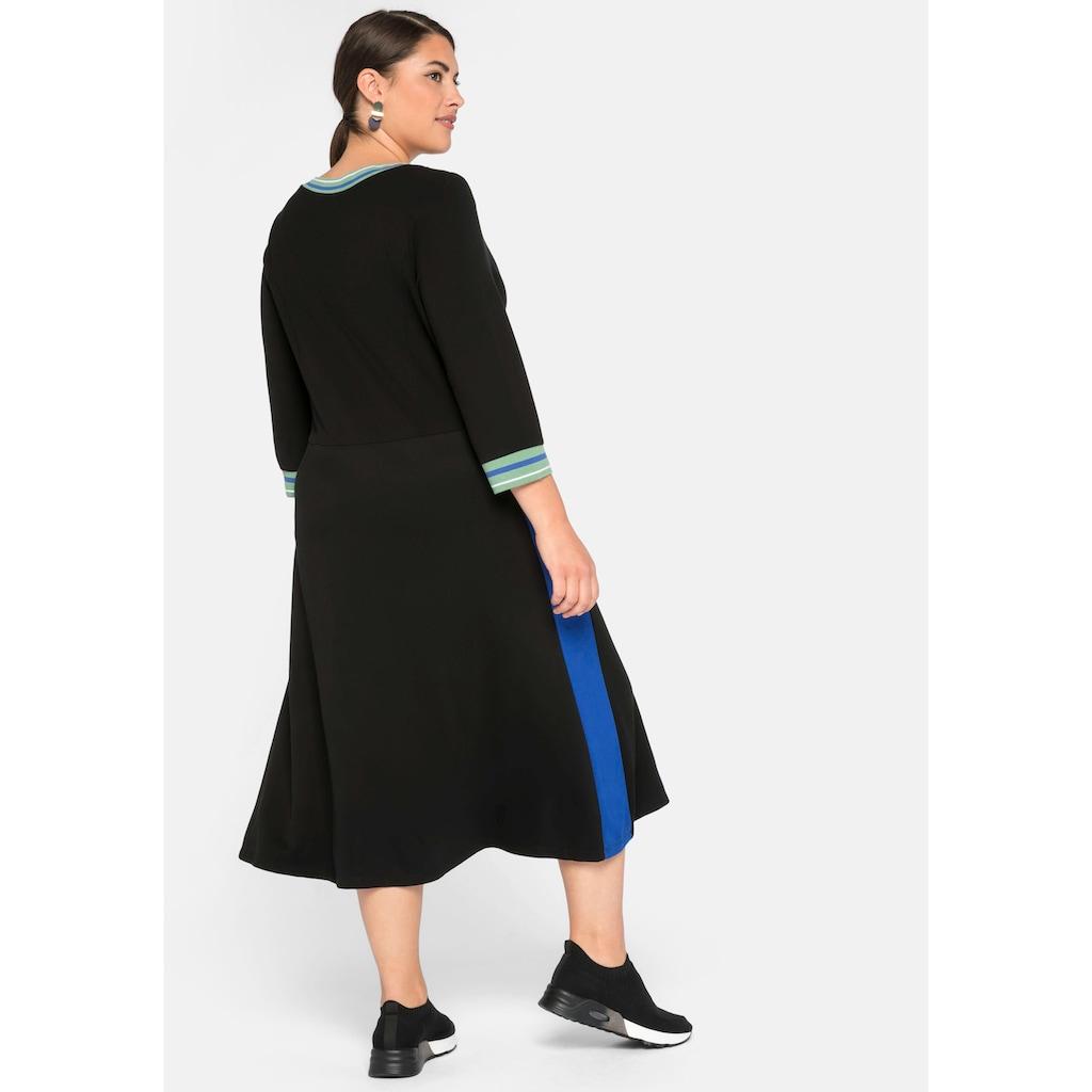 Sheego Sweatkleid, mit Zipper und Kontraststreifen