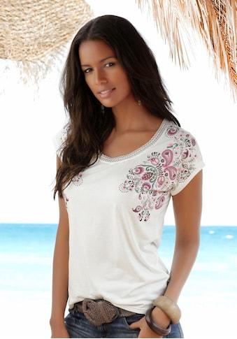 Beachtime T-Shirt, mit zarter Spitze am Ausschnitt kaufen