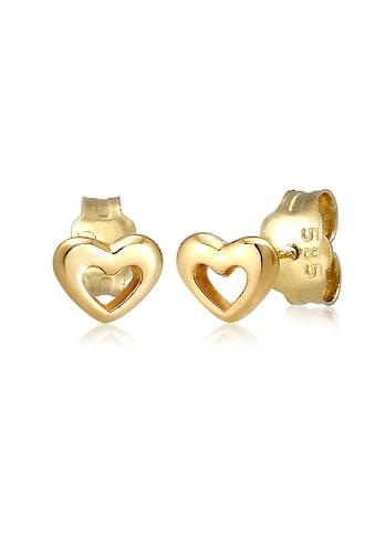 Elli Paar Ohrstecker »Stecker Herz Liebe Symbol Fein 585er Gelbgold« kaufen