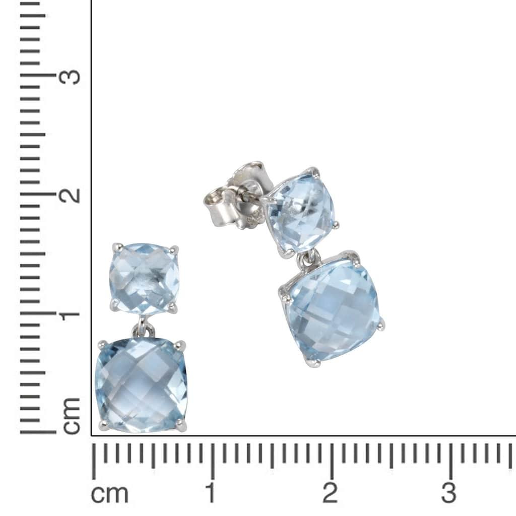 Vivance Paar Ohrstecker »925/- Sterling Silber Blautopas«, rhodiniert