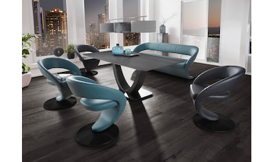 K+W Komfort & Wohnen Essgruppe »Wave«, (Set, 6 tlg.), Design-Solobank mit 4 Design-Drehstühlen in zwei verschiedenen Farben und Tisch in 180x90cm kaufen