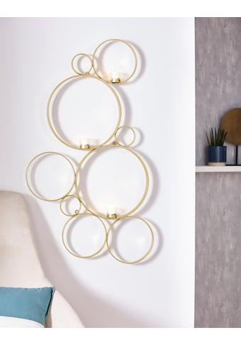 Leonique Wandkerzenhalter »Kreise«, Kerzen-Wandleuchter, Kerzenhalter, Kerzenleuchter hängend, Wanddeko, mit 3 Teelichthalter kaufen