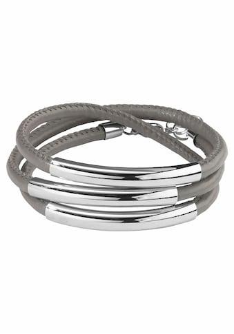 J.Jayz Wickelarmband »graues Armband zum Wickeln aus Lederimitat mit Naht und 3 Metallelementen« kaufen