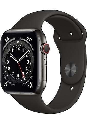 Apple Smartwatch »Apple Watch Series 6 GPS + Cellular, Edelstahlgehäuse, 44 mm mit Sportarmband«, ( ) kaufen