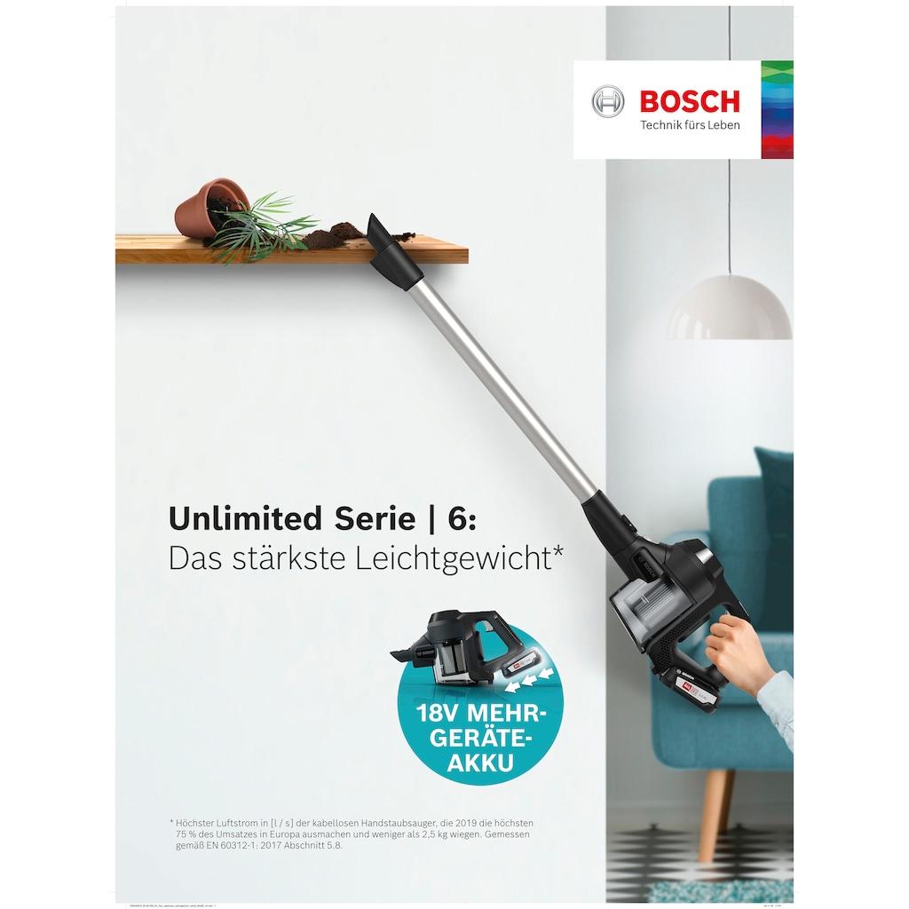 BOSCH Akku-Hand-und Stielstaubsauger »Unlimited Serie 6, schwarz, BKS6111P«, 18V Power for ALL Akku, inkl. Möbelpinsel