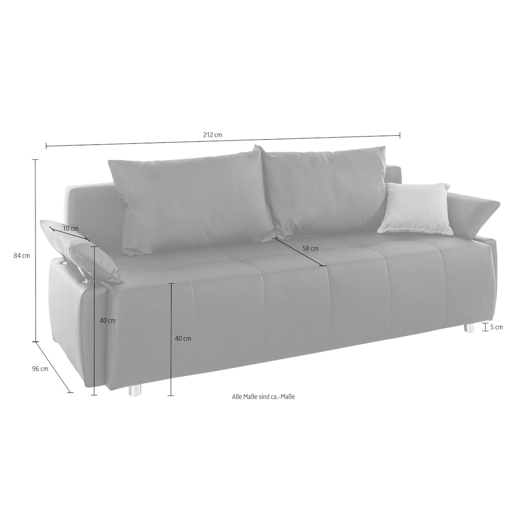COLLECTION AB Schlafsofa, mit Federkern, Bettfunktion und Bettkasten, inklusive 2 Rücken- und 1 Zierkissen, frei im Raum stellbar